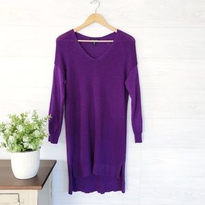 Eileen Fisher Purple V Neck Tunic Sweater